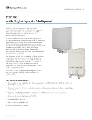 PTP 700 with High-Capacity Multipoint spec sheet