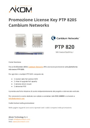 Cambium Networks PTP 820S License Key Bundle Promotion