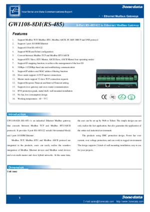 GW1108-8D 8-Port Ethernet Modbus Gateway datasheet
