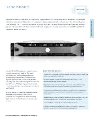 HD NVR Standard Data sheet [ITA]