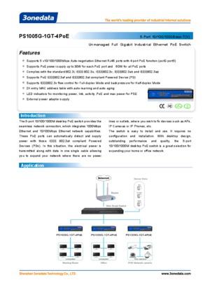 PS1005G-1GT-4PoE Datasheet 5 Port