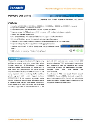 PS5026G-2GS-24PoE Datasheet 26 Port