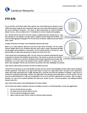 PTP 670 specification sheet