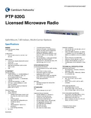 PTP 820G spec sheet