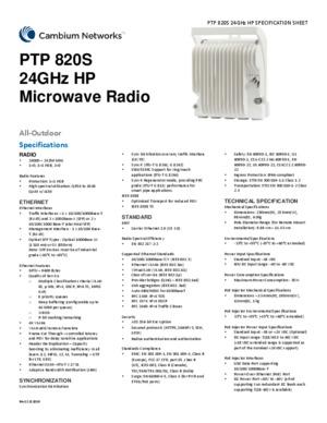 PTP 820S 24 GHz spec sheet