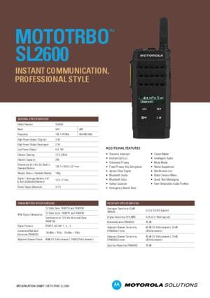 MOTOTRBO SL2600 Datasheet