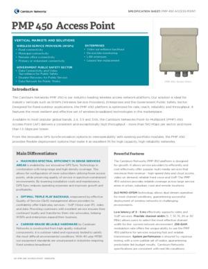 PMP 450 Access Point spec sheet