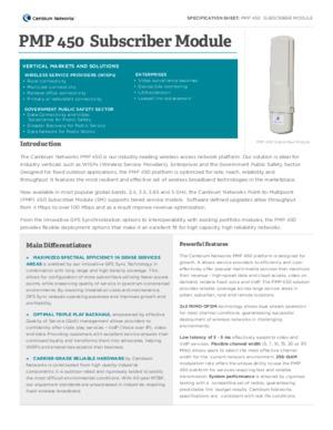 PMP 450 Subscriber Module spec sheet