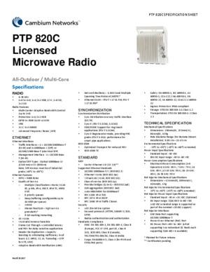 PTP 820C spec sheet