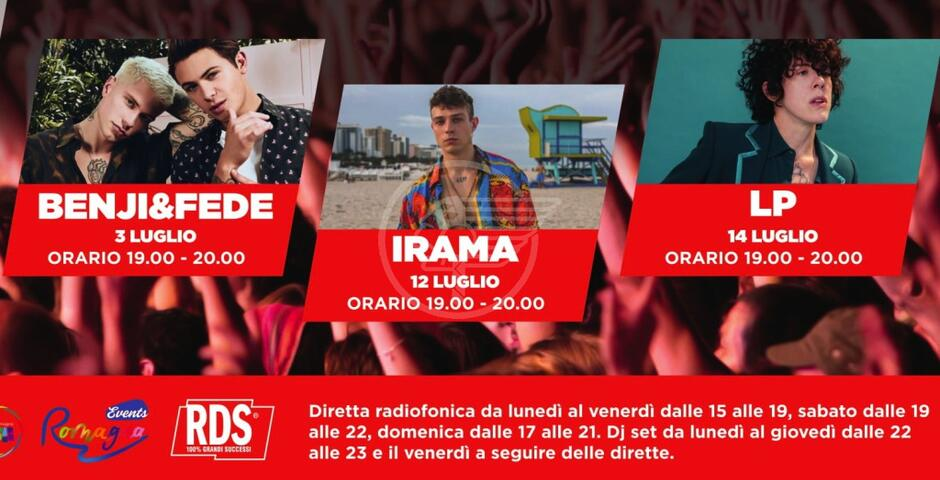 La grande estate live di Rds: domani Benji & Fede