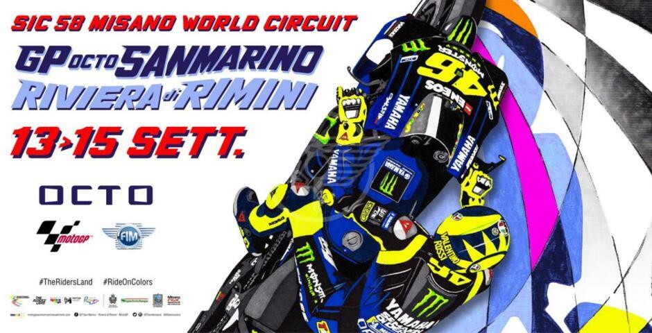 Omaggio di Drudi a Rossi nel poster del Gp