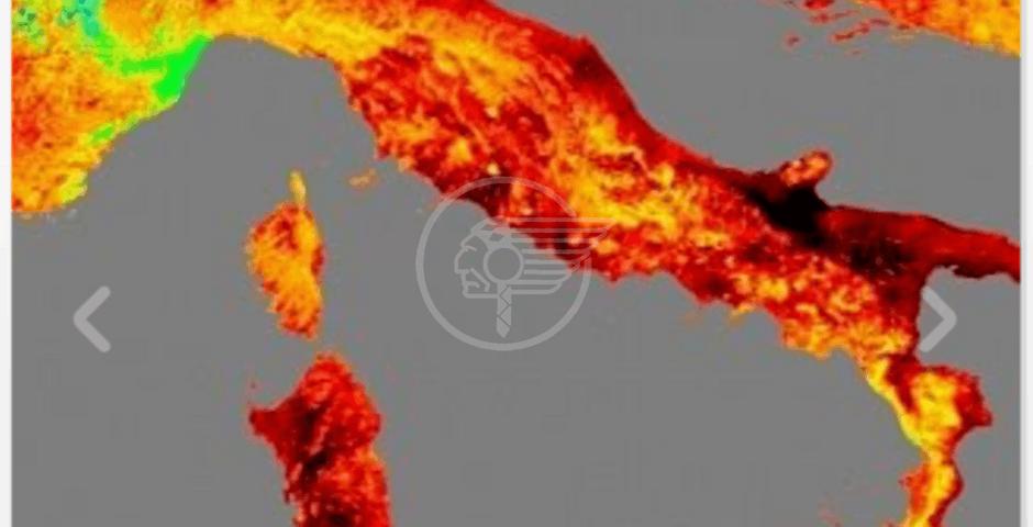 Il satellite mostra oggi una Italia rovente, punte di 50 gradi al suolo