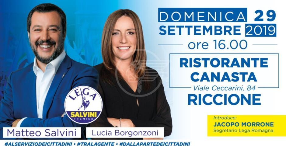Salvini domani in viale Ceccarini con la Borgonzoni