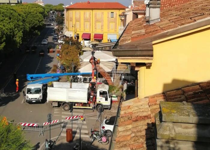 Il pino pericolante del Borgo San Giuliano se ne va