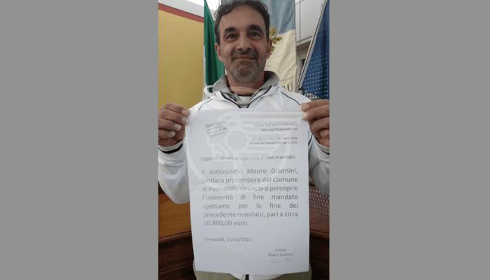 Il sindaco Giannini rinuncia all'indennità di fine primo mandato pari a 10.800 euro