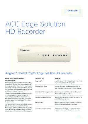 Avigilon Control Center Edge Solution HD Recorder