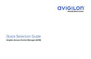 Quick Selection Guide Avigilon ACM