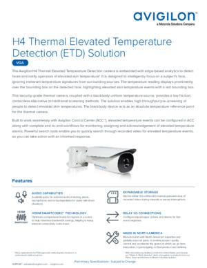 Avigilon H4 Thermal Elevated Temperature Detection Solution Datasheet