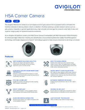 Avigilon H5A Corner Camera Preliminary Datasheet
