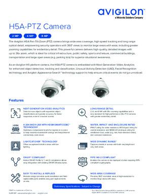 Avigilon H5A-PTZ Camera Preliminary Datasheet