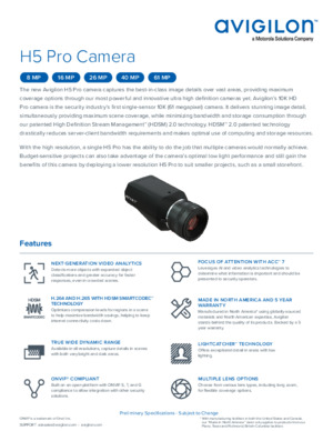 Avigilon H5 Pro Camera Data Sheet