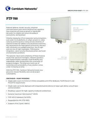 PTP 700 specification sheet
