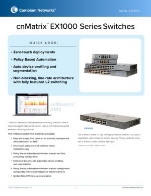 cnMatrix EX1000 Series Switches data sheet