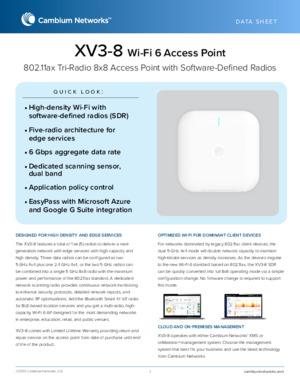 XV3-8 Wi-Fi 6 Access Point data sheet