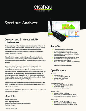 Ekahau Spectrum Analyzer data sheet