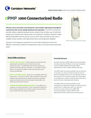 ePMP 1000 Connectorized - spec sheet