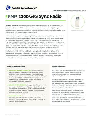 ePMP 1000 GPS Sync Spec sheet