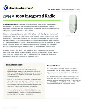 ePMP 1000 Integrated Radio spec sheet