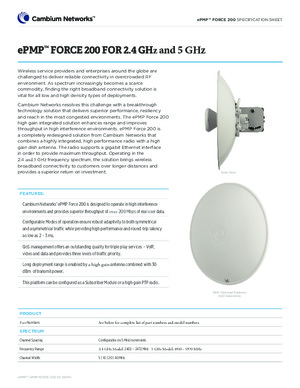 ePMP Force 200 2.4 & 5 GHz Spec Sheet