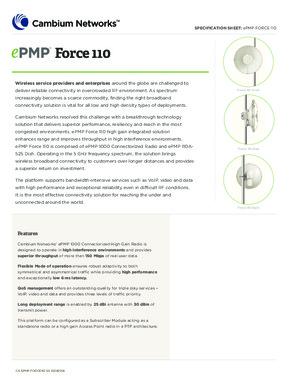 ePMP Force 110 Spec sheet