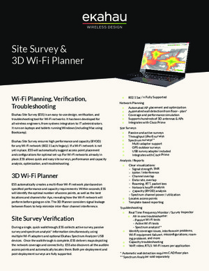 Ekahau Site Survey 3D Wi-Fi Planner data sheet