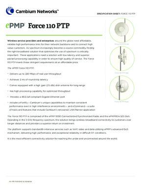 ePMP Force 110 PTP Spec sheet