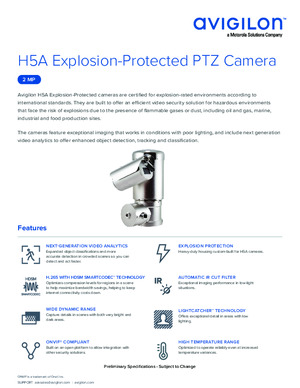 H5A explosion protected PTZ camera datasheet