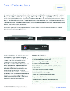 Brochure Serie HD Video Appliance Avigilon