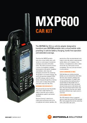 MXP600 car kit datasheet