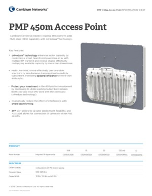 PMP 450m Access Point specification sheet