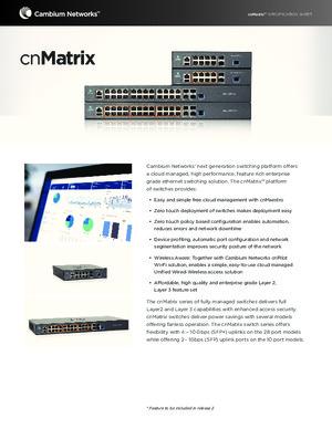 cnMatrix Specification Sheet