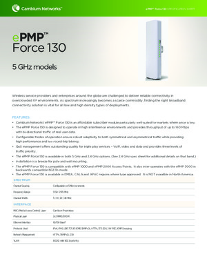 ePMP Force 130 5 GHz spec sheet