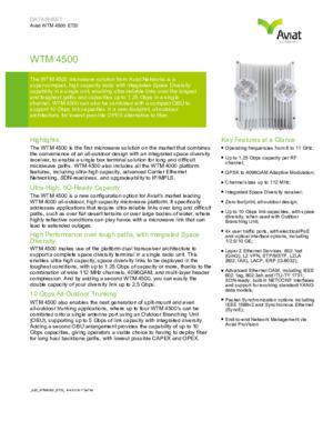 WTM 4500 Short-Form Datasheet